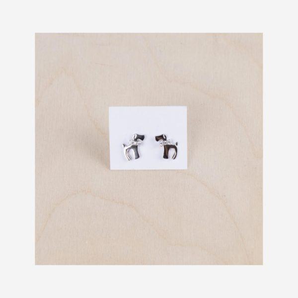 Bijou en argent boucles d'oreilles en forme de chien