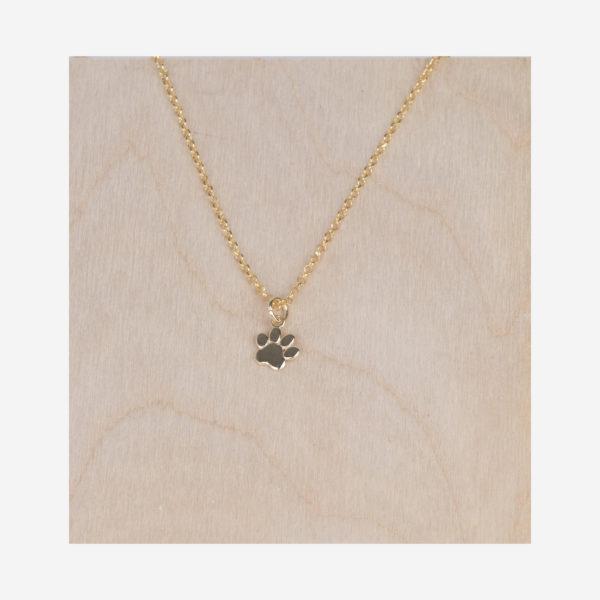 Collier avec pendentif patte de chien en argent 925 plaqué or