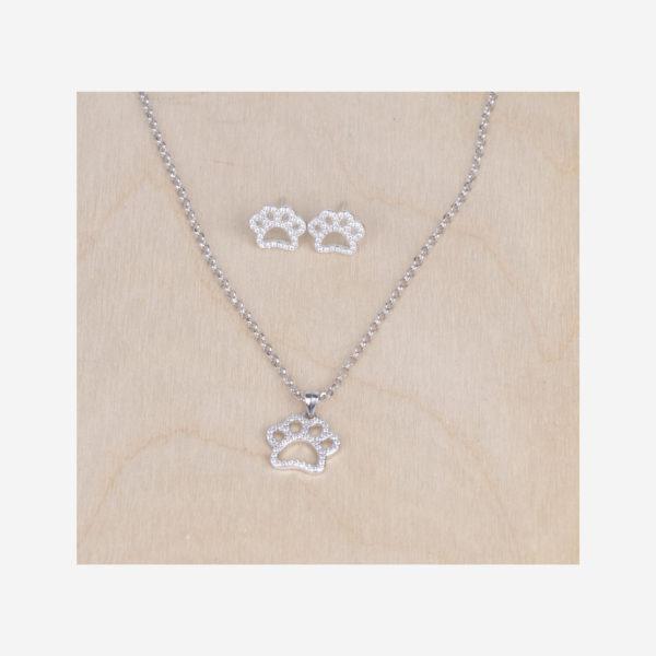 Collier et boucles d'oreilles avec pendentif patte. Il s'agit d'un collier en argent véritable 925 rhodié et nacre Longueur de la chaine 45 cm.